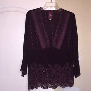 Johnny Was Empire Waist Tie Embroidered Tunic Top